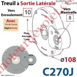Treuil à Sortie Latérale Ent Carré 8 Fem Sort Carré 10 Fem Plots 1 mm Av FdC Dr