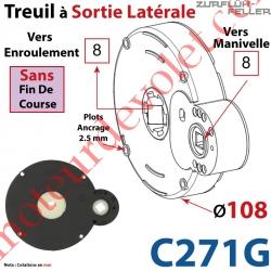 Treuil à Sortie Latérale Ent Carré 8 Fem Sort Carré 8 Fem Plots 2,5 mm Ss FdC