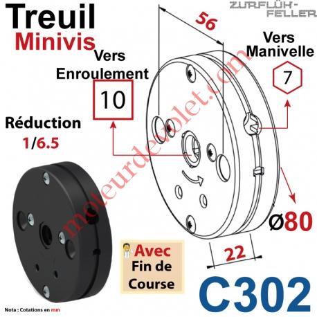 Treuil Minivis Réd 1/6,5 Entrée Hexa 7 Femelle Sortie Carré10 Femelle Av FdC Ep 22