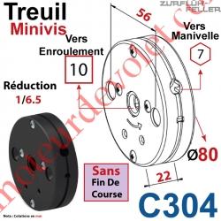 Treuil Minivis Réd 1/6,5 Entrée Hexa 7 Femelle Sortie Carré10 Femelle Ss FdC Ep 22
