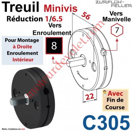 Treuil Minivis Réd 1/6,5 Rég à Dr Ent Hex 7 Fem Sor Carré 8 Mâl Lg 23 Av FdC Ep 22