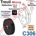 Treuil Minivis Réd 1/6,5 Rég à Dr Ent Hex 7 Fem Sor Carr 10 Mâl Lg 23 Av FdC Ep 22