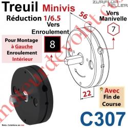 Treuil Minivis Réd 1/6,5 Rég à Ga Ent Hex 7 Fem Sor Carré 8 Mâl Lg 23 Av FdC Ep 22