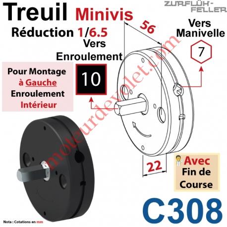 Treuil Minivis Réd 1/6,5 Rég à Ga Ent Hex 7 Fem Sor Carr 10 Mâl Lg 23 Av FdC Ep 22