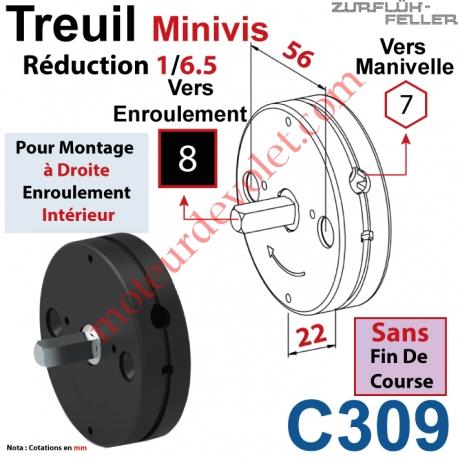 Treuil Minivis Réd 1/6,5 Ent Hexa 7 Femelle Sor Carré 8 Mâle Lg 23 mm Ss FdC Ep 22