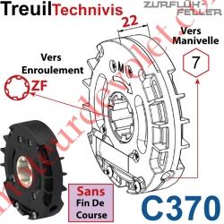 Treuil Technivis Débrayable Entrée Hexa7 Femelle Sortie Crabot Zf Femelle