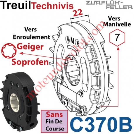 Treuil Technivis Débrayable Entrée Hexa7 Femelle Sortie Crabot 16-20 Soprofen Femelle Sans FdC