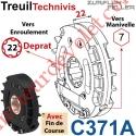 Treuil Technivis Débrayable Entrée Hexa 7 Femelle Sortie Crabot 18-22 Deprat Femelle Avec FdC