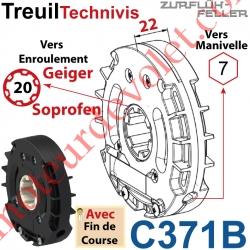 Treuil Technivis Débrayable Entrée Hexa7 Femelle Sortie Crabot 16-20 Soprofen Femelle Avec FdC