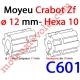 Moyeu à Crabot Mâle Zf Alésé Hexagonal 10 mm Femelle - Alésé ø 12 mm Femelle