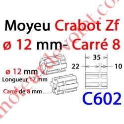 Moyeu à Crabot Zf Mâle Alésé Carré 8 mm Fem - Crabot Zf Mâle Alésé ø 12 mm Fem