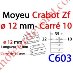 Moyeu à Crabot Zf Mâle Alésé Carré 10 mm Fem - Crabot Zf Mâle Alésé ø 12 mm Fem