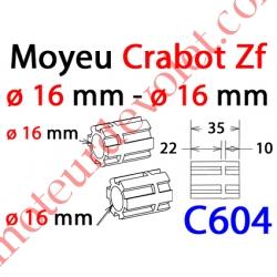 Moyeu à Crabot Zf Mâle - Crabot Zf Mâle Alésé ø 16,5 mm Femelle