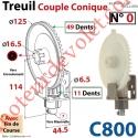 Treuil Couple Cônique n° 0 Entrée Hexa 7 Femelle Sortie Crabot Zf Mâle Avec FdC