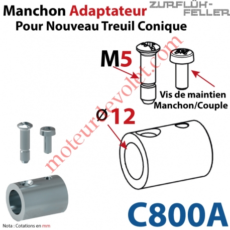 Manchon Adaptateur Nouveau Couple Cônique ø 15,5 mm ø 12 mm Avec Visserie