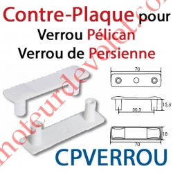 Contre-Plaque pour Verrou Pélican ou de Persienne en Pvc Gris Clair (Paire)