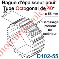 Bague d'épaisseur pour augmenter le diamètre du tube Octo 40 à 55 mm