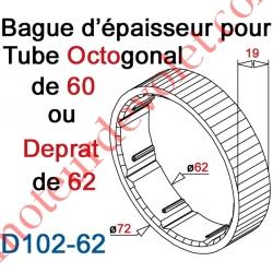 Bague d'épaisseur pour augmenter le diamètre du tube Octo 60 ou Deprat 62 à 72 mm