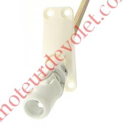Sortie Bloc-Guide 60° Platine 22x62 Genouillère ø12 Femelle-Hexa7 lg 215 Avec Vis Coloris Blanc