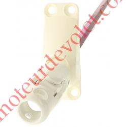 Sortie Bloc-Guide 60° Platine 22x62 Genouillère ø12 Femelle-Hexa7 lg 315 Avec Vis Coloris Blanc