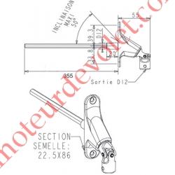 Double Cardan Etroit 22,5 x 86 mm ø 12 Femelle Hexa7 Mâle Lg 355 mm Zamac Nickelé