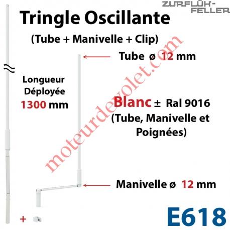 Tringle Oscillante Lg 1300 Blanche avec Manivelle