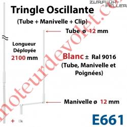 Tringle Oscillante Lg 2100 Blanche avec  Manivelle