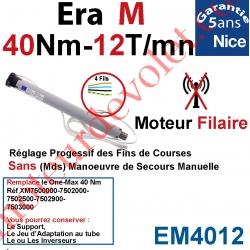 Moteur Nice Filaire Era M 40/12 Avec FdC Manuels Série M (Medium ø45mm)