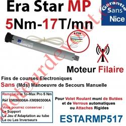 Moteur Nice Filaire Era Star MP 5/17 Avec FdC Electroniques Réglables Automatiquement Série M (Medium ø45mm)
