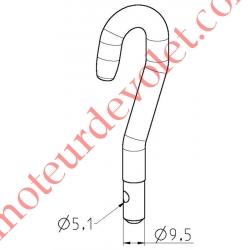 Crochet à Emmanchement Mâle vers Tringle Oscillante ø12mm Percé ø5 à 6 mm Extrémité Acier Zingué