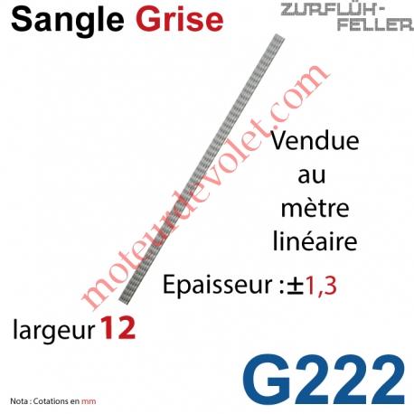 Sangle Largeur 12 mm Grise, le mètre linéaire