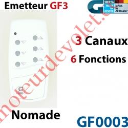 Emetteur Nomade GF 3 Blanc  (3 Canaux 6 Fonctions) peut être Fixé av Supp GF0019