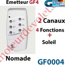 Emetteur Nomade GF 4 Blanc  (2 Can 4 Fonc + Soleil) peut être Fixé av Sup GF0019