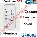 Emetteur Nomade GF 5 Blanc  (4 Can 8 Fonc + Soleil) peut être Fixé av Sup GF0019