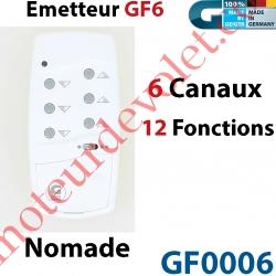 Emetteur Nomade GF 6 Blanc  (6 Canaux 12 Fonctions) peut être Fixé av Sup GF0019