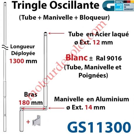 Tringle Oscillante Alu-Acier Blanc ± Ral 9016 Long Totale 1300 Bras Manivelle Long 180 mm Tige ø12
