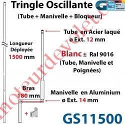 Tringle Oscillante Alu-Acier Blanc ± Ral 9016 Long Totale 1500 Bras Manivelle Long 180 mm Tige ø12