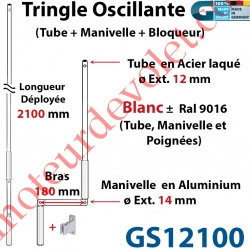 Tringle Oscillante Alu-Acier Blanc ± Ral 9016 Long Totale 2100 Bras Manivelle Long 180 mm Tige ø12