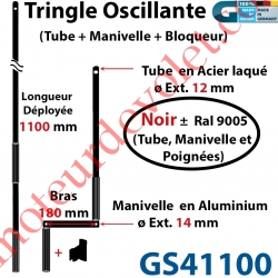 Tringle Oscillante Alu-Acier Noir ± Ral 9005 Long Totale 1100 Bras Manivelle Long 180 mm Tige ø12
