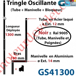 Tringle Oscillante Alu-Acier Noir ± Ral 9005 Long Totale 1300 Bras Manivelle Long 180 mm Tige ø12