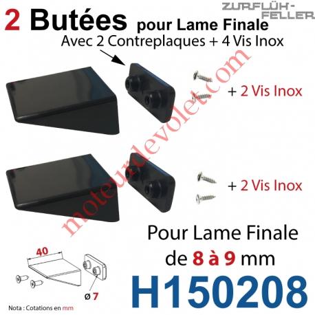 Sac de 2 Butées Equerres + Contreplaques Noires Av Vis Inox pr Lame Finale 08-09
