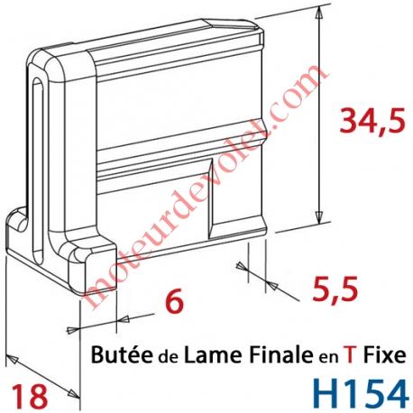 Embout - Butée en T Fixe de Lame Finale de 5,5 mm Epaisseur x 34,5 mm de Haut