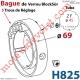 Bague de Verrou Automatique Blocksûr pr tube ZF 45 ø Ext 69 mm Av 1 Vis 4,2x12,7