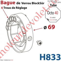 Bague de Verrou Automatique Blocksûr pr tube Octo 40 øExt 69 mm Av1 Vis 4,2x12,7