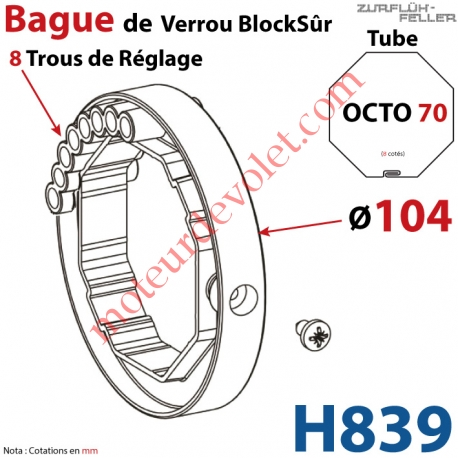 Bague de Verrou Automatique Blocksûr pr tube Octo 70 øExt 104mm Av1 Vis 4,2x12,7