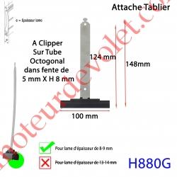 Attache Tablier Noire Longueur 142 mm à Clipper Fente 5x8 sur Tube Octo pour Lame 8-9 mm