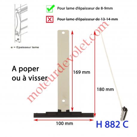 Attache Tablier Noire Lg 175 mm à Visser pour Lame 8-9 mm d'épaisseur
