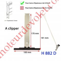 Attache Tablier Noire Lg 175 mm à Clipper sur Tube Zf pour Lame 8-9 mm d'épaisseur