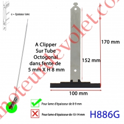 Attache Tablier Noire Longueur 152 mm à Clipper Fente 5x8 sur Tube Octo pour Lame 8-9  mm