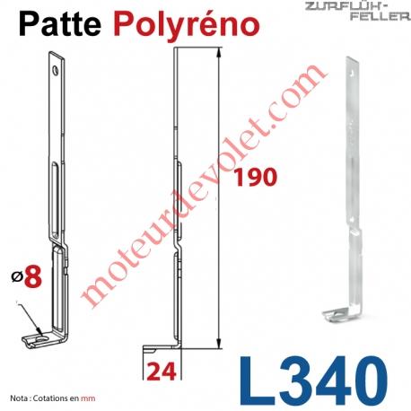 Patte Polyréno Acier Nervuré 20/10 Largeur 16 mm Zingué-Bichromaté